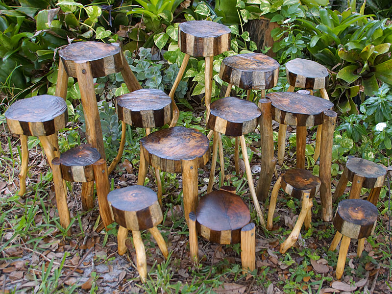 Rustic wood plant stands