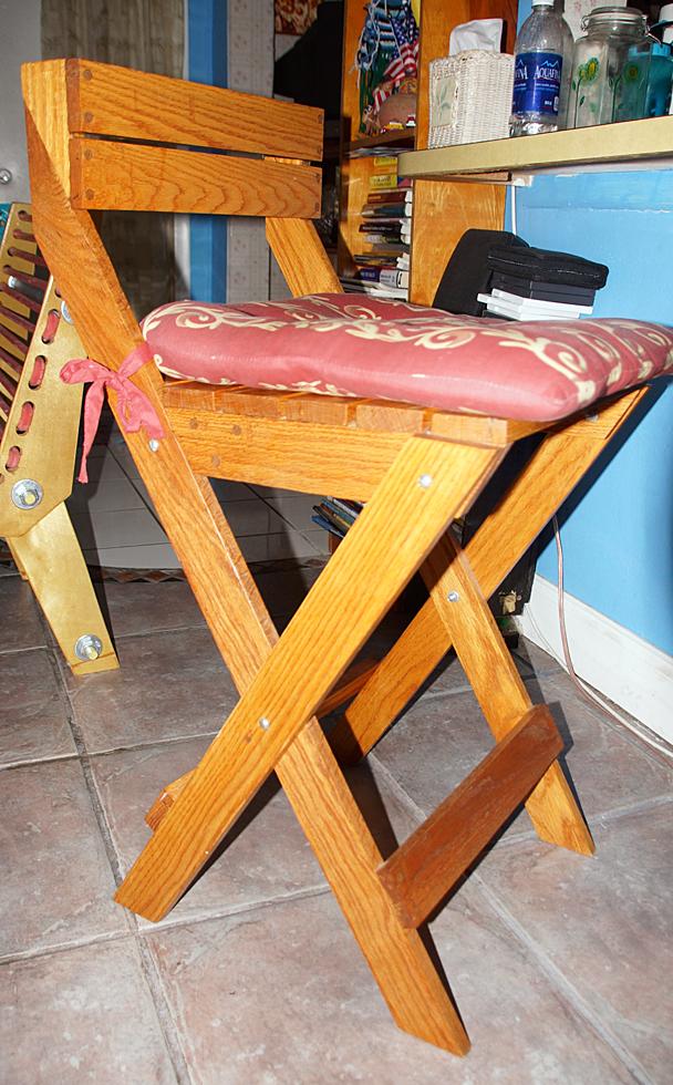 rustic wood kitchen stool