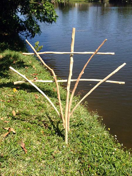 rustic wood tree branch trellis 1
