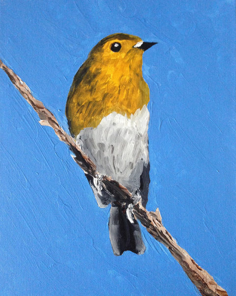 rustic garden bird painting