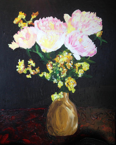 Acrylic Painting Of Flowers In A Vase Brad Luthin
