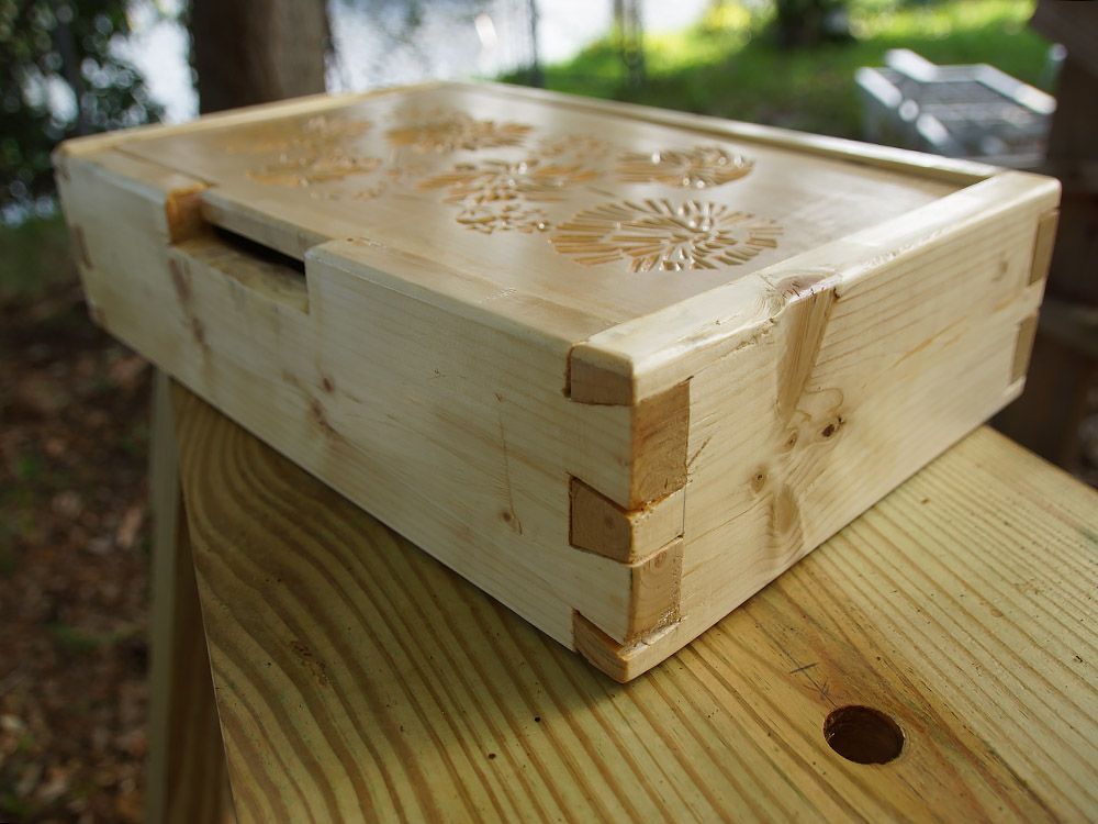 rustic wood carved box