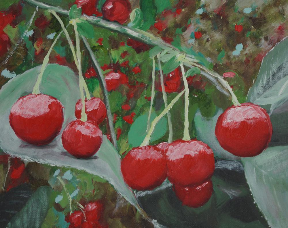 Oil painting of cherries