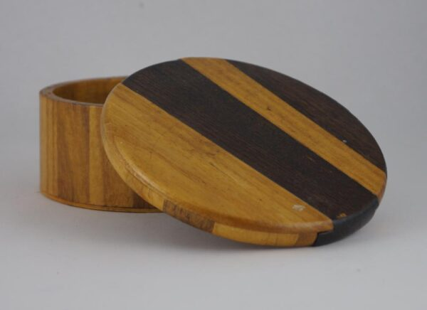 Wood stained round box