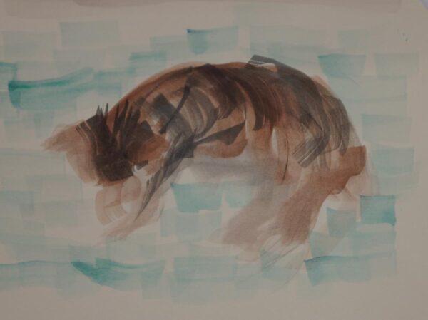 Watercolor art of cat