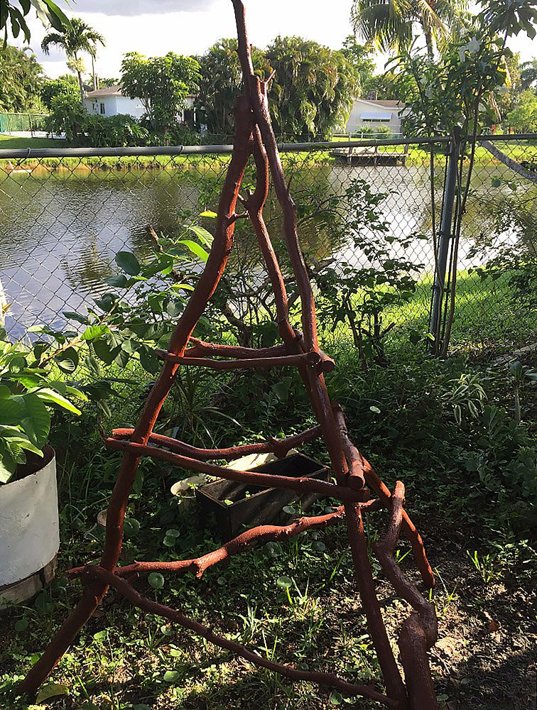 Large rustic tree branch wood trellis