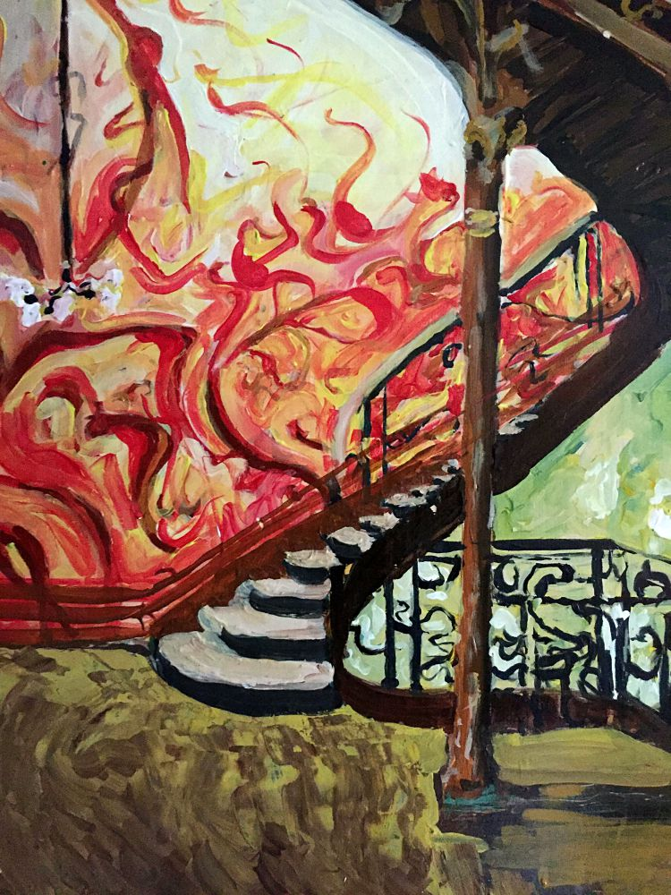 Acrylic painting of staircase