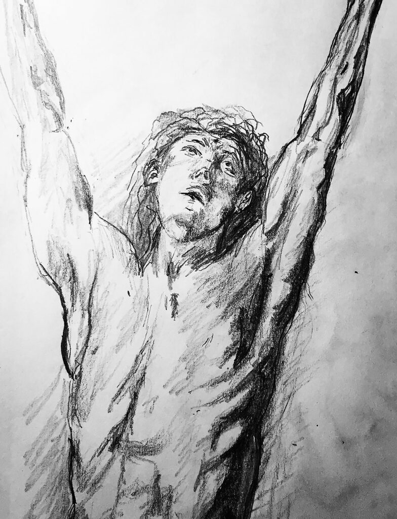 Jesus Christ drawing after Rubens
