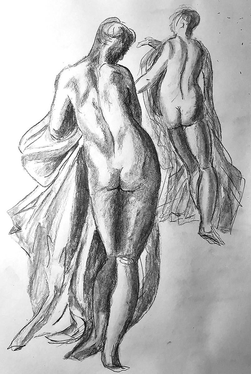 Drawing after Bertoia / Bertora of 2 females
